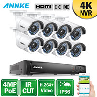 ANNKE 8CH 4MP POE NVR Security System 4K NVR With 8pcs 4mm 4MP Weatherproof IR CUT Night Vision Cameras H.264+ Home Video Kit