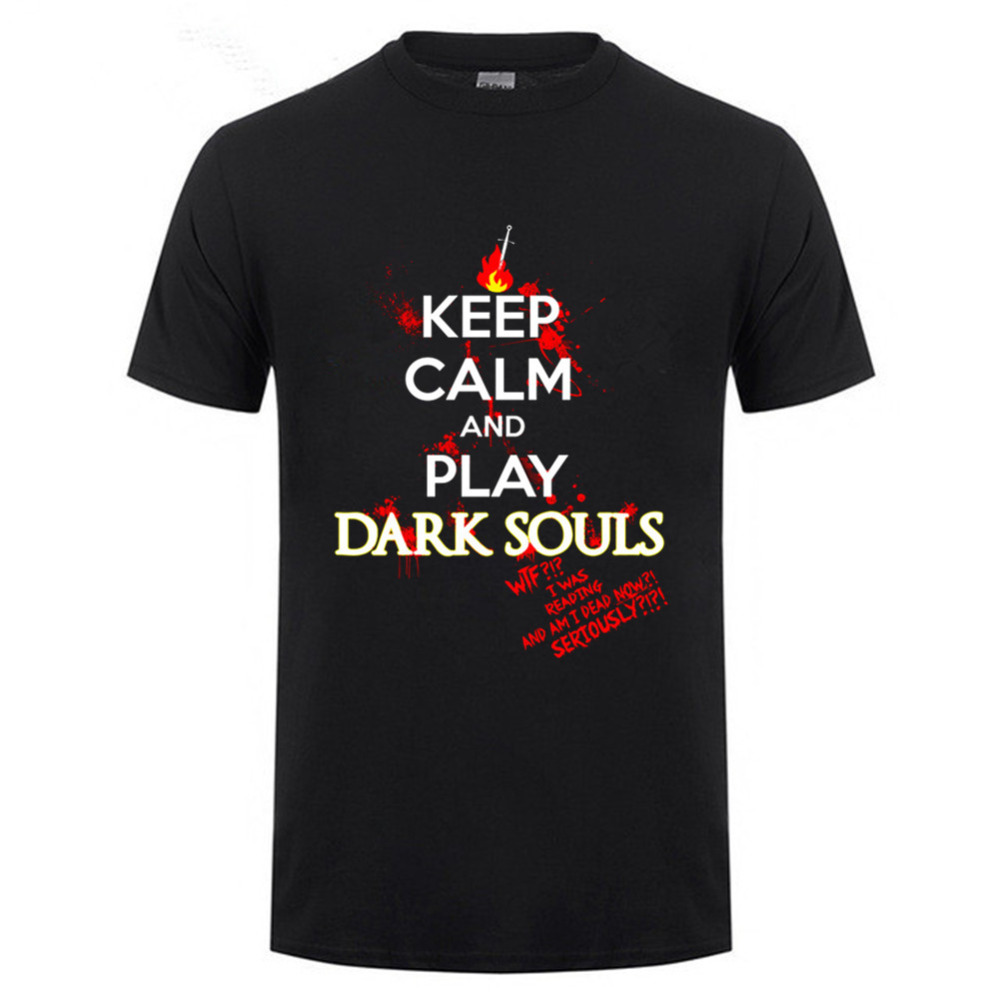 2018 Hot Summer keep calm dark souls t shirt console game fans tee shirts keep calm and play dark souls men crew neck t shirt