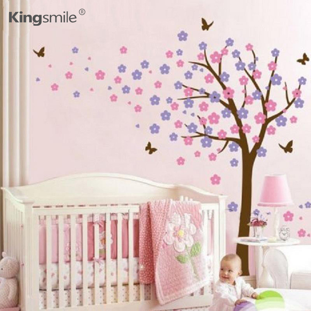 Buy modern butterfly trees decals flower - Dessin mural chambre fille ...