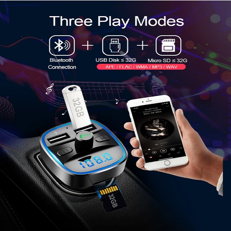 Image 5 - Bluetooth 5.0 car mp3 music player FM receiver transmitter Dual USB car quicky charger U disk / TF card lossless music player-in Convertible Accessoires from Automobiles & Motorcycles