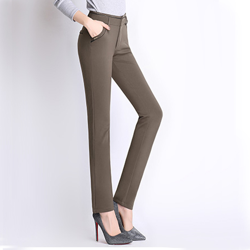 Hot Sale Spring Autumn Formal Pencil Pants women thicken Slim High waist trousers big size 27-34 women Solid Elastic pants