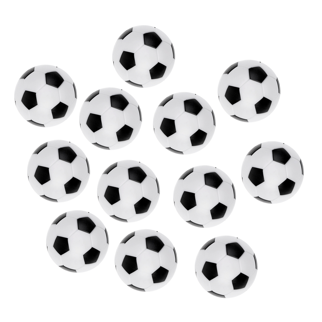 Durable Men 12 Pcs Foosball/Soccer Game Table Mini Soccer Balls Foosballs Black/White Football Replacement Table Game Accessorie image