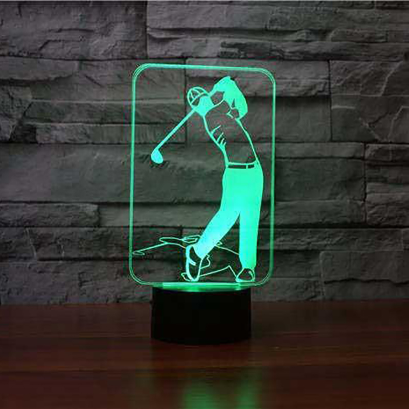 3D Play Golf Modelling Table Lamp 7 Colors Changing LED Night Light USB Baby Sleep Lighting Kids Sports Fans Gifts Bedroom Decor