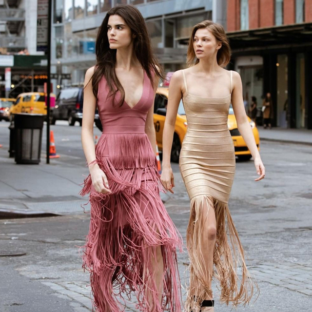 Adyce 2019 New Summer Maxi Tassels Women Bandage Dress Vestidos Sexy Sleeveless Fringe Club Dress Celebrity Evening Party Dress 1