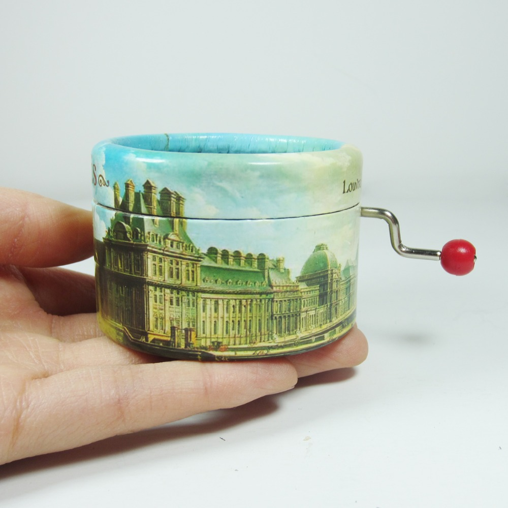 """Play /""""Edelweiss/"""" Melody Hand Crank Music Box With Sankyo Musical Movement"""