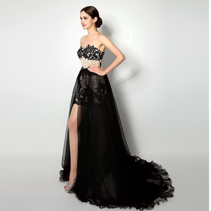 Ruthshen High Low Prom Dress Removable Skirt With Sweetheart Black