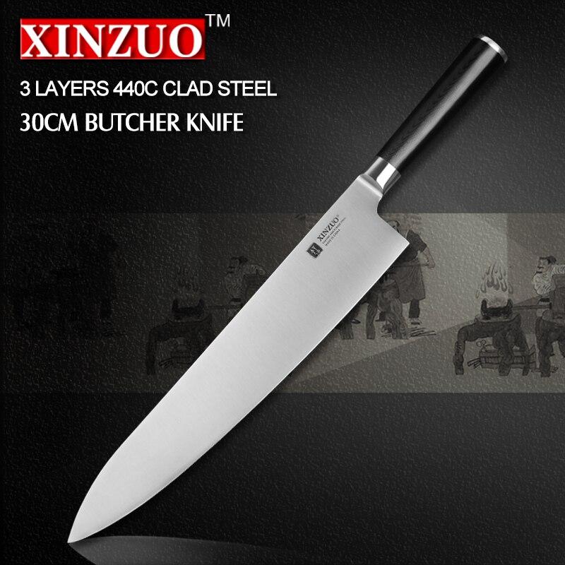 XINZUO 12 inch butcher font b knife b font 3 layer 440C clad steel chef font