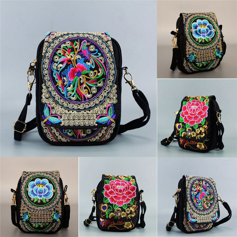 Women Shoulder Bag Travel Pouch Vintage Floral Embroidered Crossbody Zip Bag