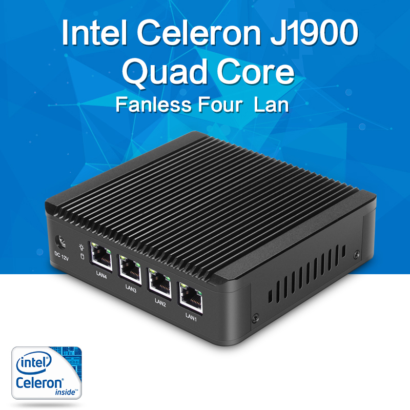 Fanless Mini PC J1900 Quad-core 4*LAN Intel Gigabit Ethernet Firewall Router Pfsense Thin Client Nettop Windows Linux RouterOS thunderspeed barebone mini pc j1900 quad core nuc 4 lan firewall router fanless nano itx computer windows linux pfsense os