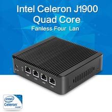 XCY NUC безвентиляторный мини-ПК J1900 Quad Core 4 LAN Windows 7/8/8.1/10 HTPC HD Graphics 150 м Wi-Fi телевизор коробка vga 4 RJ-45 офисный компьютер
