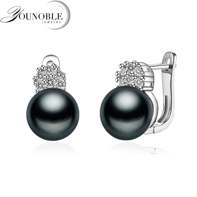 925 sterling silver earrings with pearl,real black natural freshwater earrings pearl women,clip on earrings ashiqi real 925 sterling silver dangle earrings tassel long natural freshwater pearl earrings jewelry