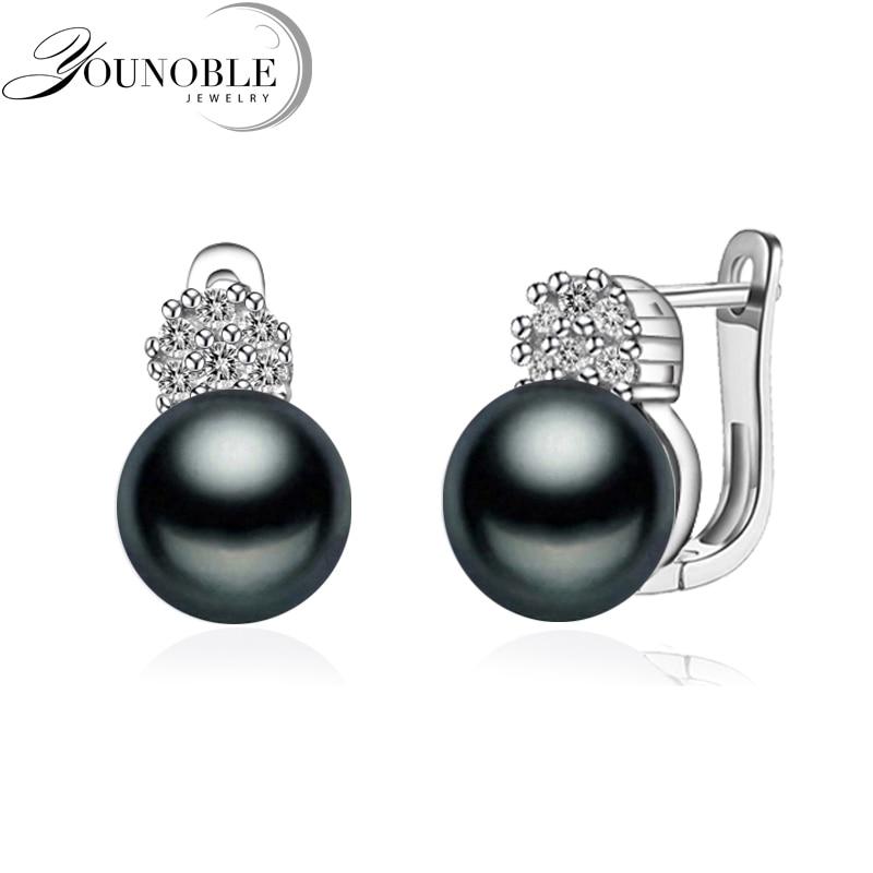 925 sterling silver earrings with pearl,real black natural freshwater earrings pearl women,clip on earrings 925 sterling silver freshwater pearl long ear hook earrings earrings