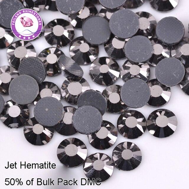 Glass Beads Jet Hematite DMC Hotfix Rhinestones For Clothing Accessories DIY Decoration Iron On Stones