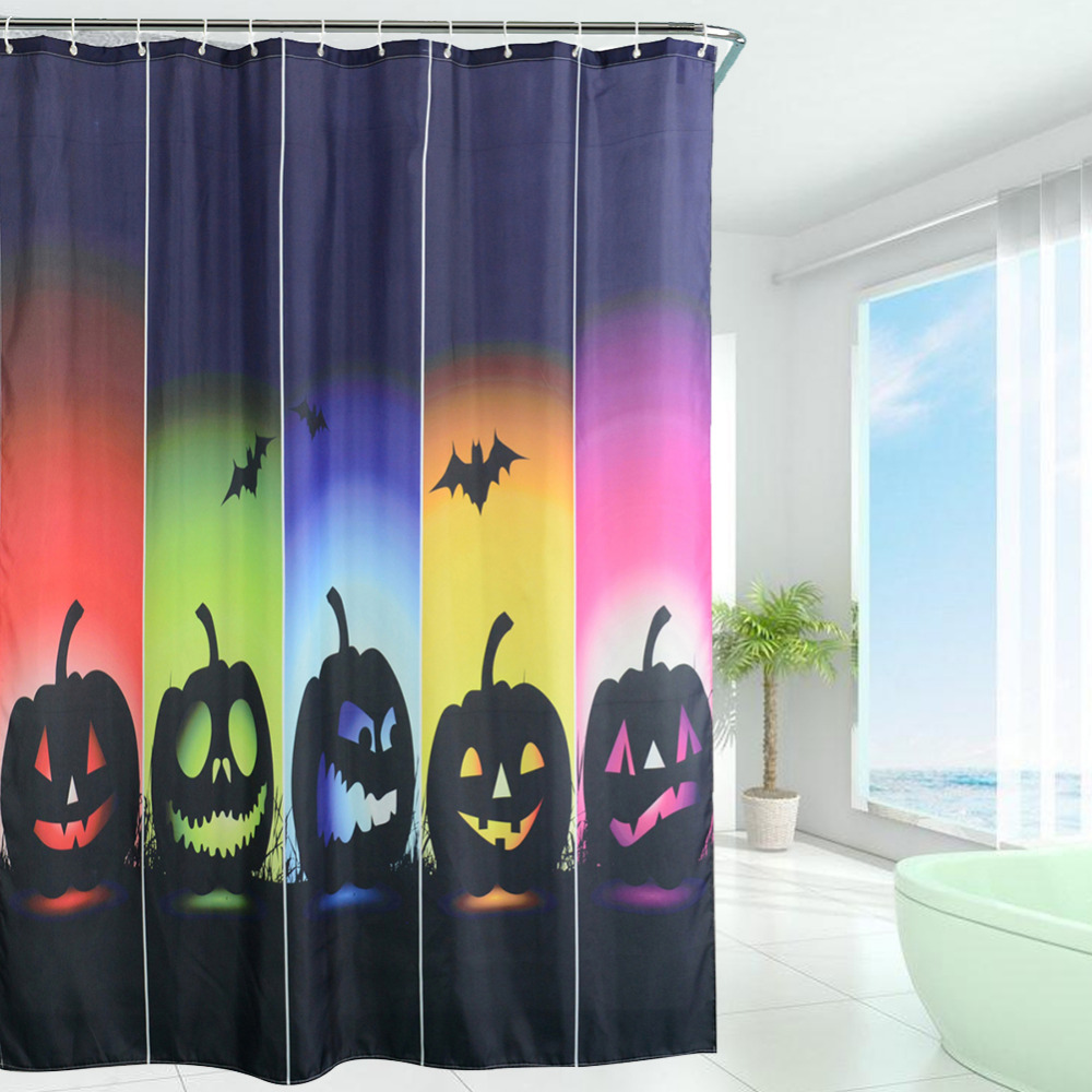 Halloween shower curtain - New Design Halloween Pumpkin Squad Waterproof Polyester Shower Curtains Bath Bathing Sheer Curtain Home Decorations
