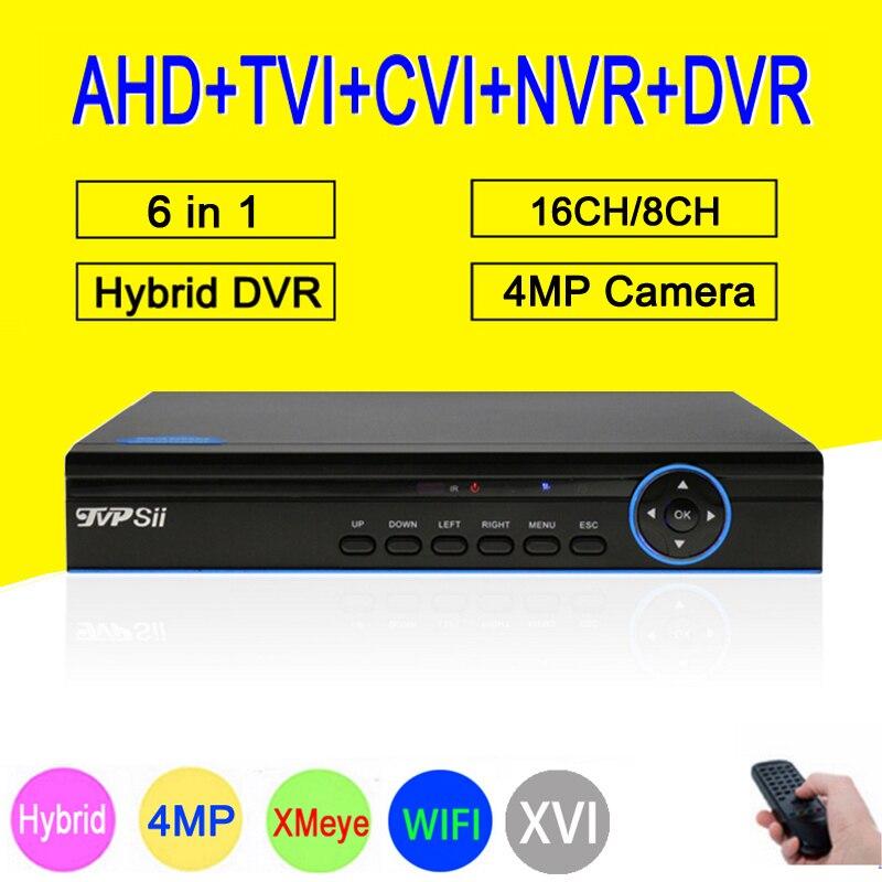 Bleu Panneau Hi3531A 4MP 16CH 16 Canal 6 dans 1 WIFI Hybride TVi CVI NVR AHD CCTV DVR de Surveillance Vidéo enregistreur Livraison Gratuite
