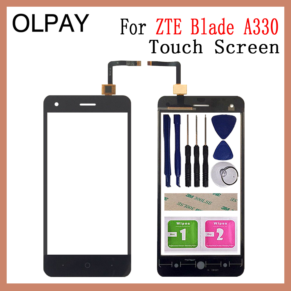 OLPAY 5.0'' Mobile Phone For ZTE Blade A330 A 330 Touch Screen Glass Digitizer Panel Lens Sensor Tools Free Adhesive + Wipes