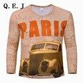 Q.E.J Coche 3D Print 2017 Hombre de Las Camisetas de La Moda de Nueva V-cuello Delgado fit de manga larga t shirt mens 3d clothing t-shirt 3xl envío libre