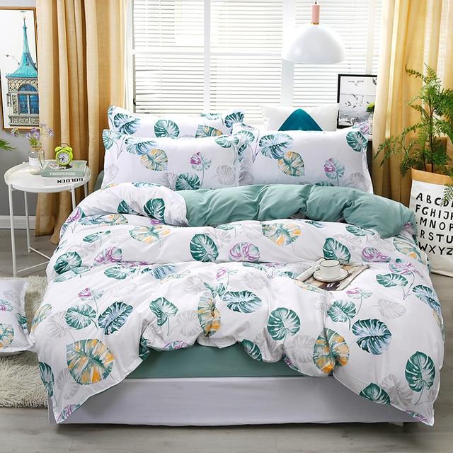 A8 New Xanh Lá Chuối Mô Hình Bộ Đồ Giường Đặt Giường Lót Duvet Cover Tấm Ga Trải Giường Gối Che Set Cho 1.2/ 1.5/1.8/2/2.2 m Giường