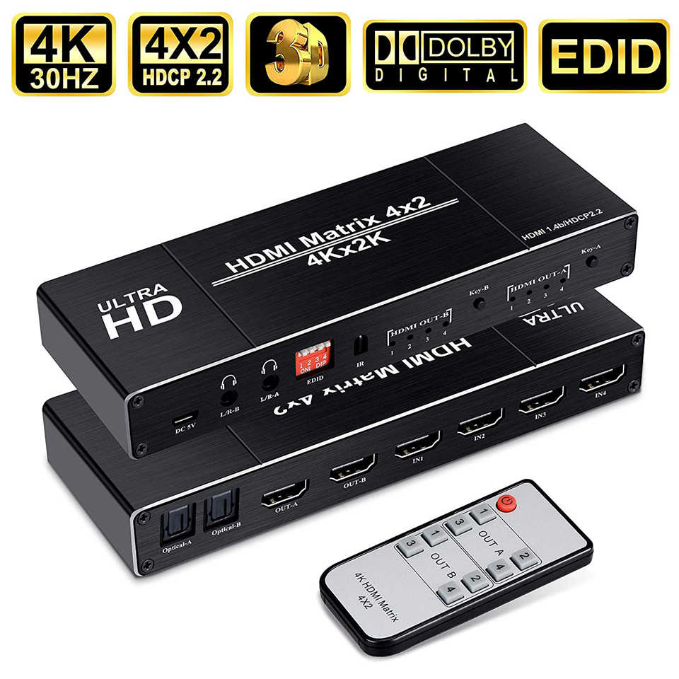 2019 4K Terbaik 4X2 HDMI Matrix Switch Splitter Switcher EDID Setting HDMI Switch 4X2 dengan dual SPDIF & Optical TOSLINK HDMI Matrix