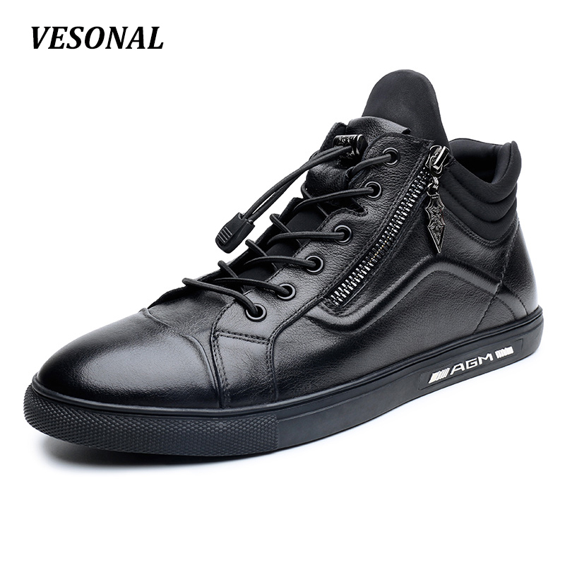 VESONAL 2017 Luxury Designer 100% Genuine Leather Men Shoes High Top Quality Side Zip Fashion Mens Shoes Casual Black SD6211 vesonal 2017 top quality lycra outdoor ultralight slip on loafers men shoes fashion stripe mens shoes casual sd7005