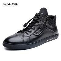 VESONAL 2017 Luxury Designer 100 Genuine Leather Men Shoes High Top Quality Side Zip Fashion Mens
