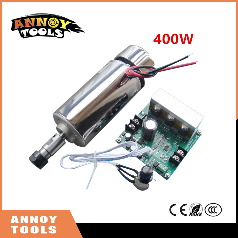 Free Shipping ANNOYTOOLS 400W DC12-48V CNC Air Cooled Spindle Motor+ ER11 chuck+Mach3 Speed Governor Regulator for CNC engraver dc48v 400w 12000rpm brushless spindle motor air cooled 529mn dia 55mm er11 3 175mm for cnc carving milling