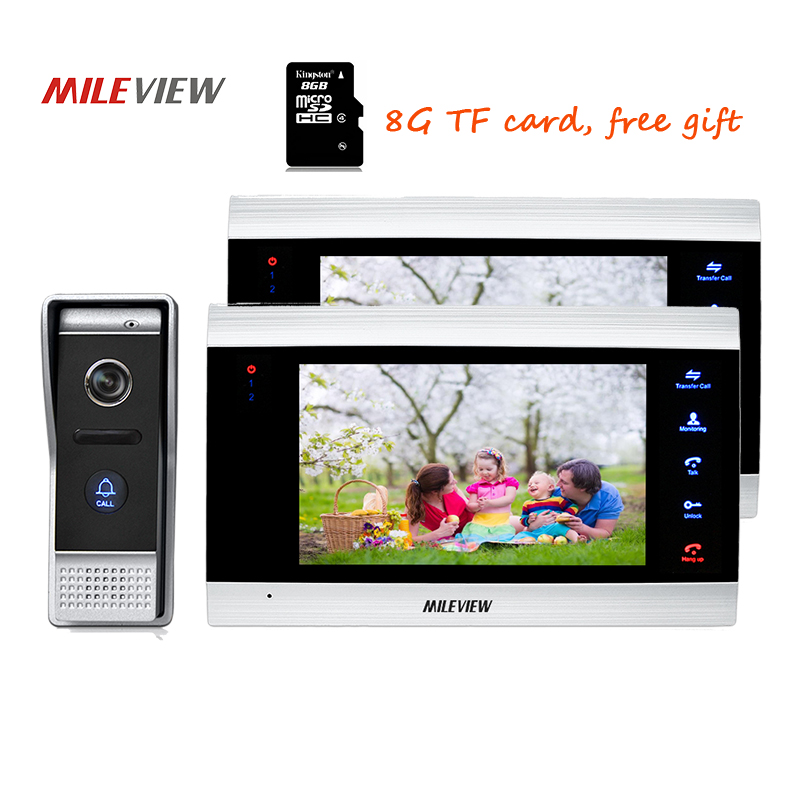 Free Shipping 800TVL HD 7 Video Intercom Door Phone Unlock Record System 2 Screens + Night Vision Outdoor Camera 110 View Angle