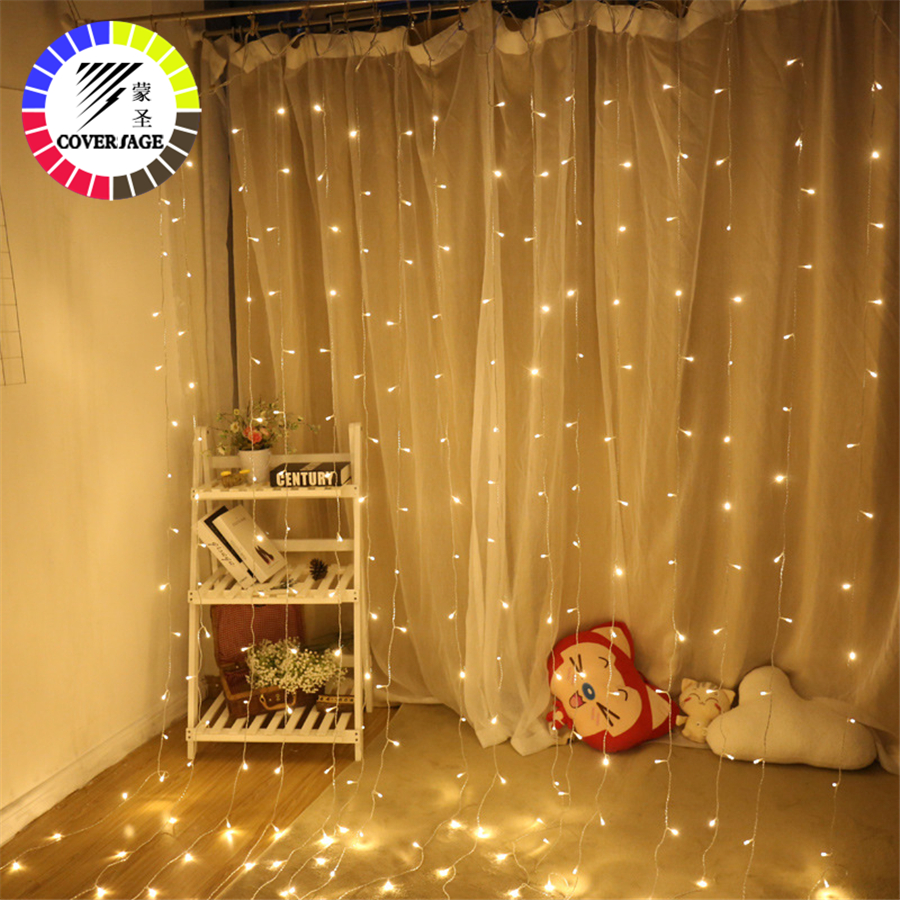 Coversage Fairy Curtain Led Lights Decoration 3x3M Garland Light Christmas Decorative LED String Xmas Party Garden Wedding Light