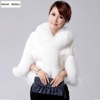 White&Black Bolero Women Faux Fur Shawl Stoles Wrap Fashion Bridal Capes Winter Warm Fur Bolero Thicken Shawl With Sleeves