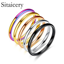 Sitaicery New 2MM Thin Titanium Steel 5 Color Couple Ring Simple Fashion Rose Gold Finger For Women Wedding Party Jewelry