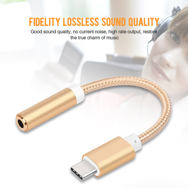 Type C To 3.5mm Audio Cable USB C Earphone Headset Jack Adapter For Huawei P20 Mate 10 Pro AUX Audio Cable For Xiaomi Mi8 Mi6