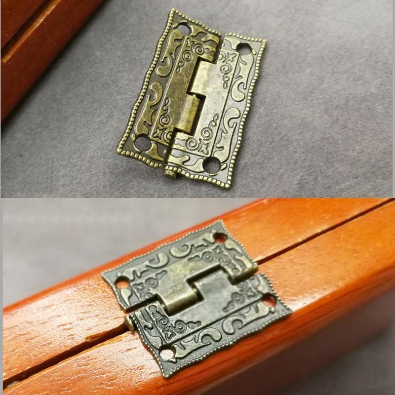 10PCS Antique Bronze Hinges Cabinet Door Jewelry Wooden Box Drawer Decoration Vintage Hinge Furniture Hardware With Screws