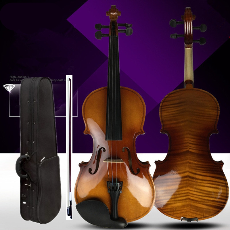 4/4 Violin Technology Pattern Tiger Pattern Children Adult Solid Wood Grading Performance 3/4 1/2 1/8  violin Beginners Manual4/4 Violin Technology Pattern Tiger Pattern Children Adult Solid Wood Grading Performance 3/4 1/2 1/8  violin Beginners Manual