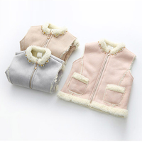 Baby Girls Warm Vest Girls Autumn Winter Thick Waistcoat Kids Girl Fleece Velvet Outerwear Zipper Jacket