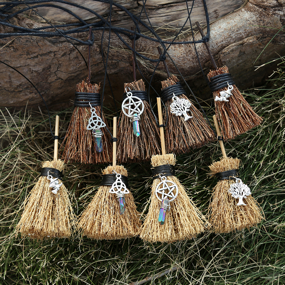 MINI Witches Wicca Broom Necklace Travel Charm Wicca Crystal Tiny Broom Witchcraft Celtic Knot Pentagram halloween charm