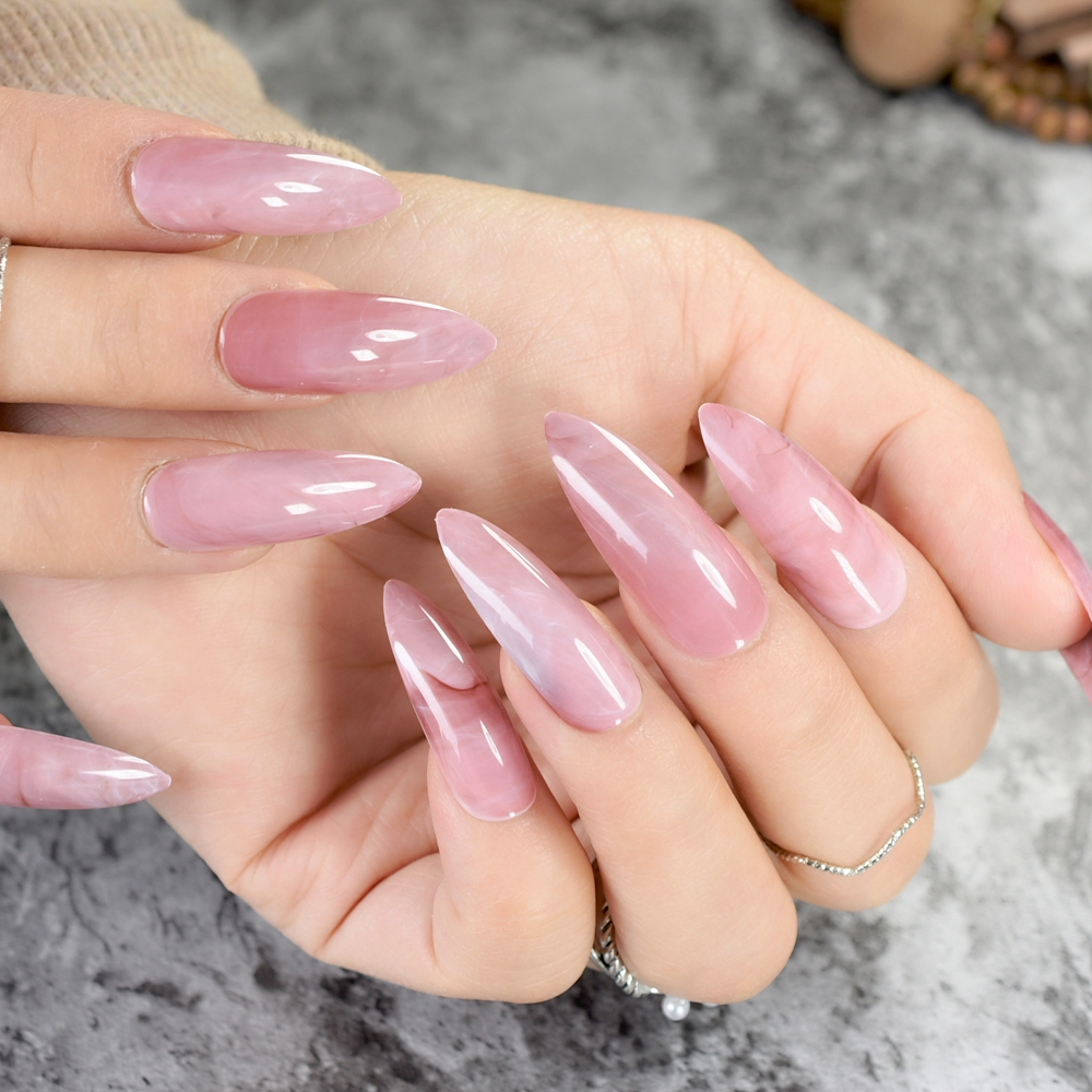 24 Stücke Gradienten Dim Rosa Acryl Nägel Lange Stiletto Nails ...