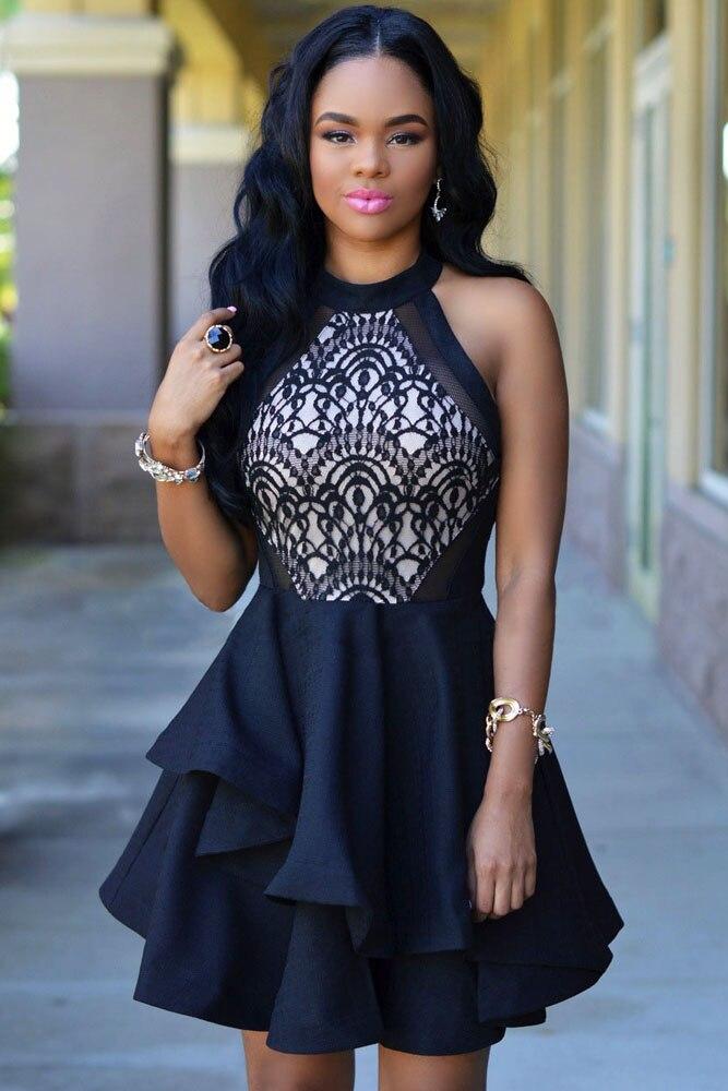 2016 Fashion New Sweet Black Lace Nude Irregular Layered Skater Mini Dress  White Women Summer Sleeveless Dresses on Sale 8e67cbcc5