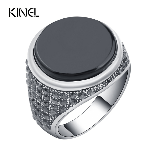 Kinel Fashion Punk Black Men Ring Vintage Jewelry Covered Crystal Round Resin Ri
