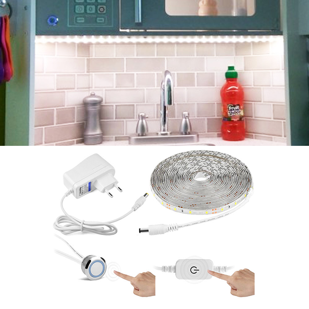 Cabinet LED Light Touch Switch Sensor Light Strip Dimmable 220V To DC 12V LED Tape Kitchen Wall Bed Lamp Waterproof With EU Plug