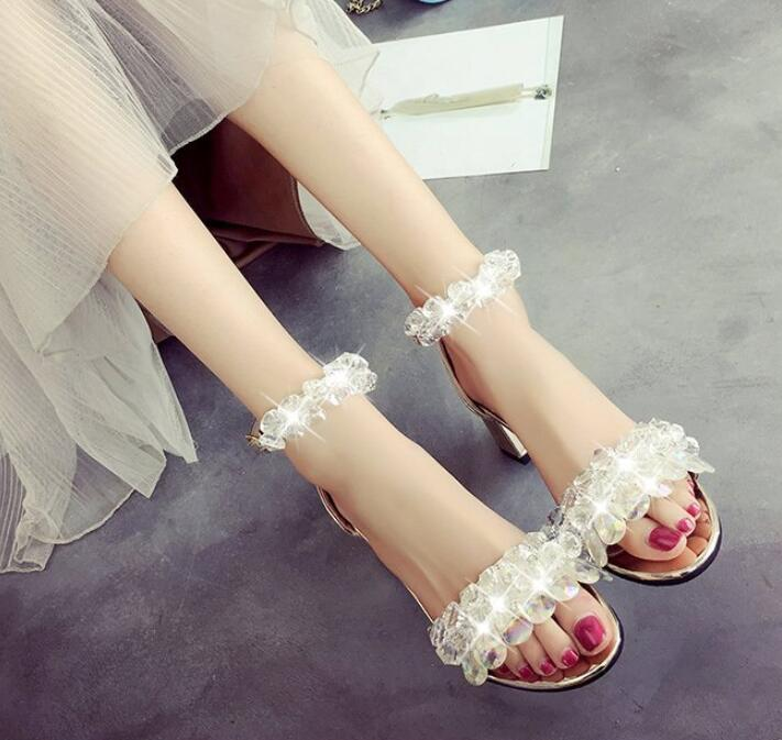 sunny everest 2019 new Girls shoes women sandals crystal female shoes high heel summer glass golden silver students 34 39