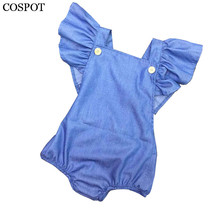 COSPOT Baby Girls Denim Romper Newborn Summer Jumpsuit Girl Spring Cotton Ruffle Sleeve Romper Toddler Plain Color Jumper C32