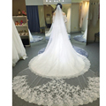 3 Meter White Ivory Cathedral Wedding Veils Long Lace Edge Bridal Wedding Veil with Comb Wedding Accessories Bride Mantilla