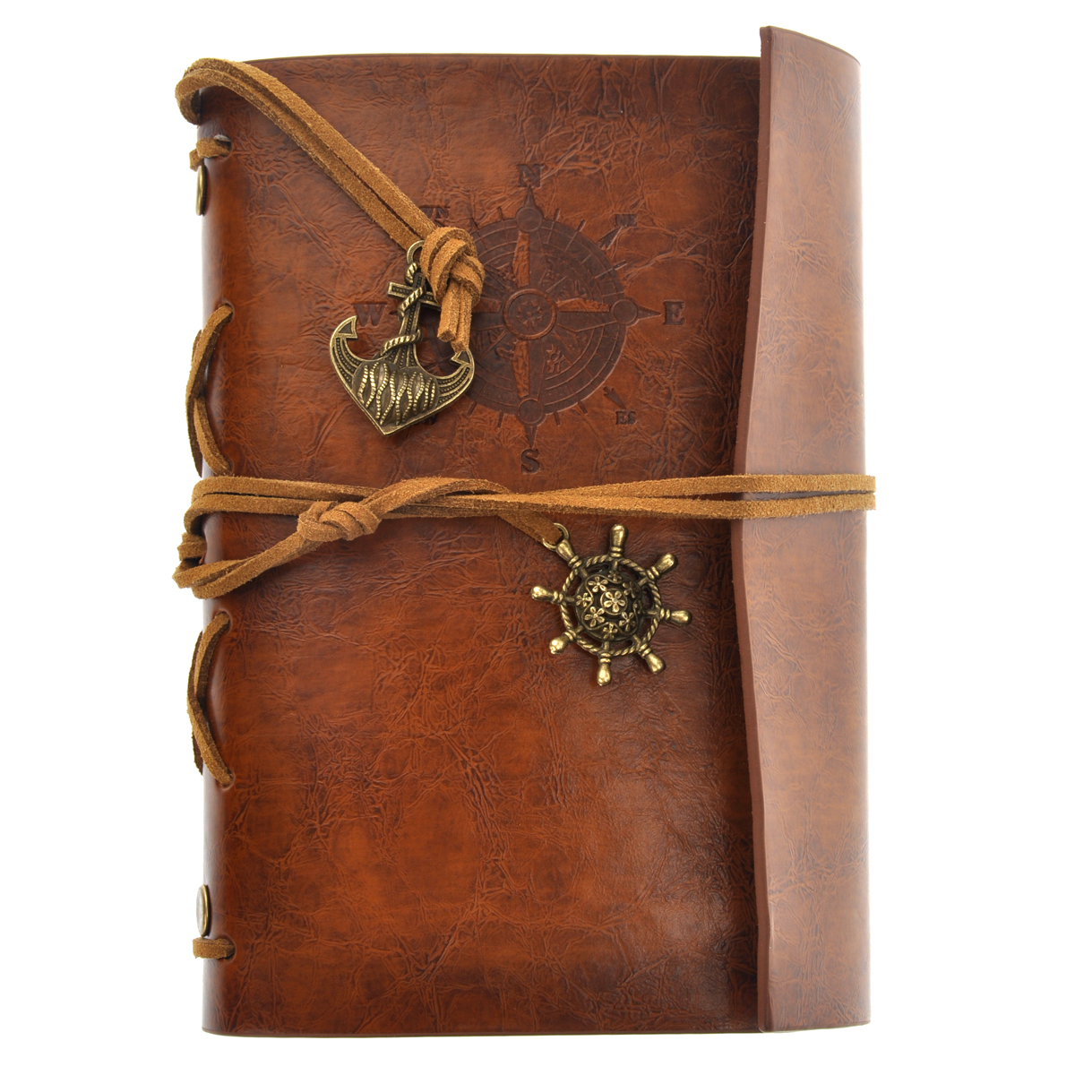 Vintage Notebook Pirate Anchor PU Cover Loose-leaf String Bound Blank Notebook Notepad Travel Journal Diary Jotter (Brown)