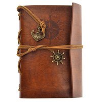 Retro Vintage Pirate Anchor PU Cover Loose Leaf String Bound Blank Notebook Notepad Travel Journal Diary