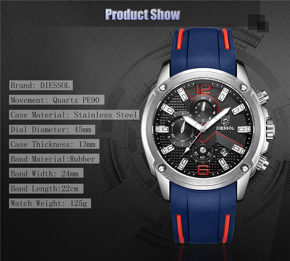 DIESSOL Men's Fashion Sports Quartz Watch Mens Watches Top Brand Luxury Rubber Band Waterproof Business Watch Relogio Masculino 12