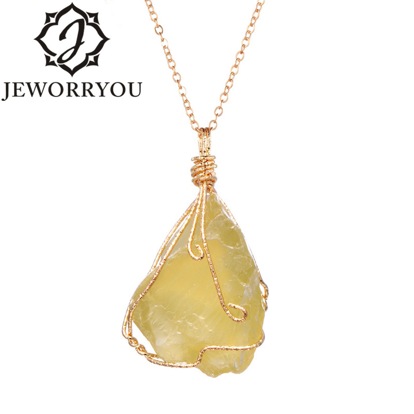 Raw Ore Crystal Necklace Pendant Natural Citrine Stone Neklace Chain Vintage Boho Initial Necklace Women Jewelry