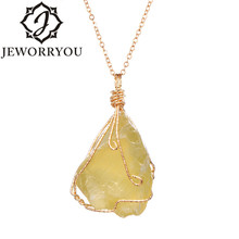 цена на Raw Ore Crystal Necklace Pendant Natural Citrine Stone Neklace Chain Vintage Boho Initial Necklace Women Jewelry
