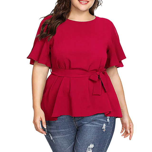Plus Size Blouse Women's Solid Short Sleeve Shirt Solid Color Belted Knot Blouse Tops Women Casual Loose Shirt Chemise Femme /PT 3