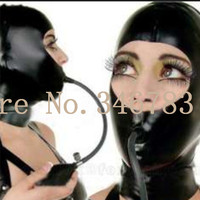 100% Black Latex Hood Mask with Inflatable Gags and Zip Costumes Accessories for Party