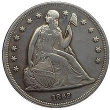Дата 1860 1860-O 1861 1862 1863 1864 1865 1866 США Сидящая свобода долларов Монета КОПИЯ